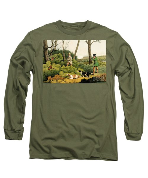 Pheasant Shooting Long Sleeve T-Shirt by Henry Thomas Alken