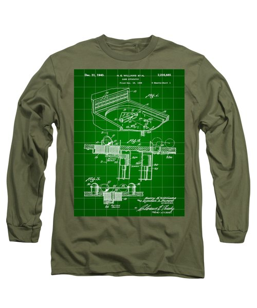 Pinball Machine Patent 1939 - Green Long Sleeve T-Shirt by Stephen Younts