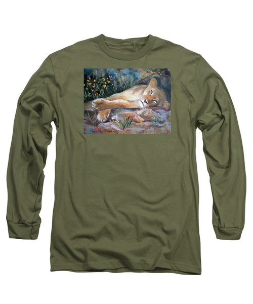 Long Sleeve T-Shirt featuring the painting Sleep Lion by Jieming Wang