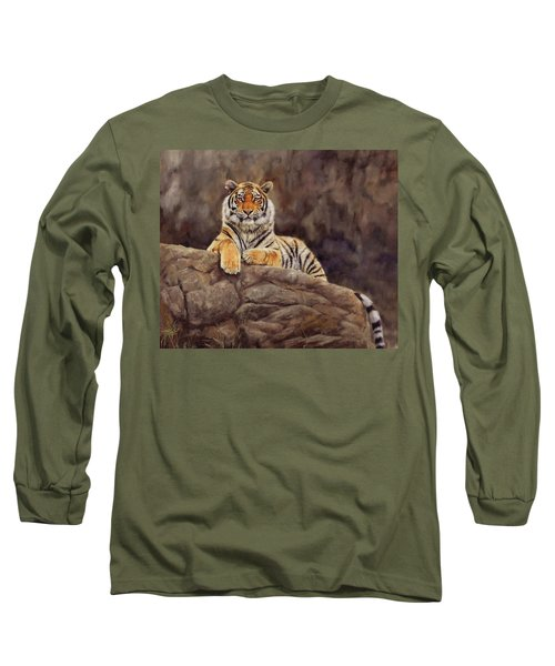 Tiger Long Sleeve T-Shirt by David Stribbling