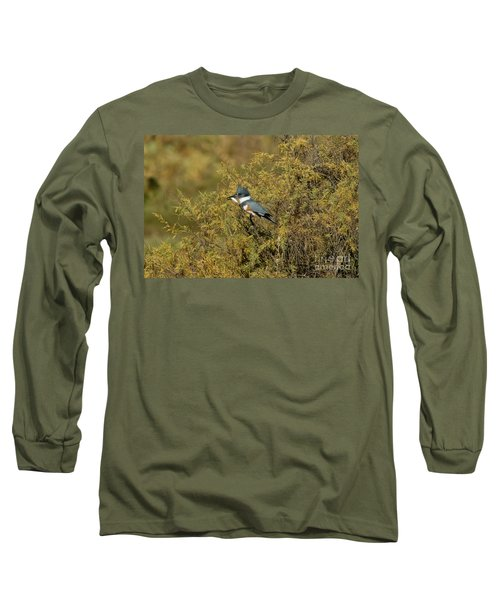 Belted Kingfisher With Fish Long Sleeve T-Shirt by Anthony Mercieca