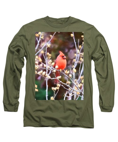 Long Sleeve T-Shirt featuring the photograph Cardinal by John Freidenberg