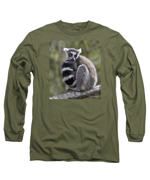 Ring-tailed Lemur Long Sleeve T-Shirt by Liz Leyden