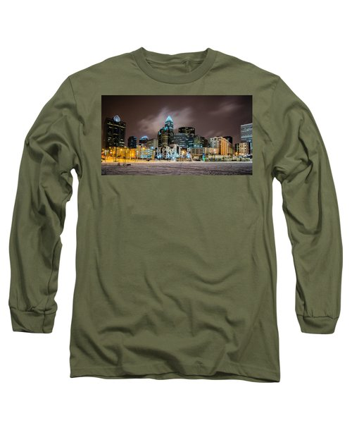 Long Sleeve T-Shirt featuring the photograph Charlotte Queen City Skyline Near Romare Bearden Park In Winter Snow by Alex Grichenko