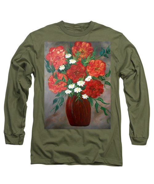 Long Sleeve T-Shirt featuring the painting 6 Flowers by Cynthia Amaral