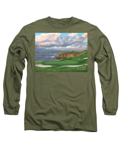 8th Hole Pebble Beach Long Sleeve T-Shirt by Tim Gilliland