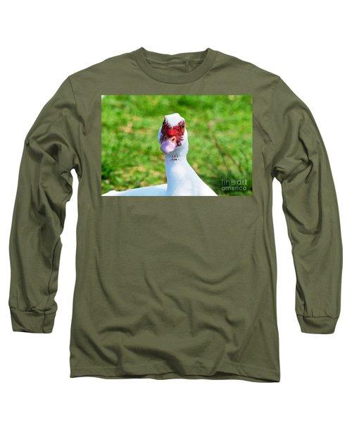 Long Sleeve T-Shirt featuring the photograph A Curious Muscovy Duck  by Susan Wiedmann