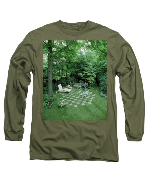 A Garden With Checkered Pavement Long Sleeve T-Shirt