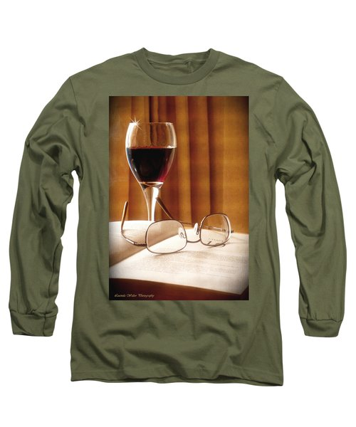Long Sleeve T-Shirt featuring the photograph A Good Book And A Glass Of Wine by Lucinda Walter