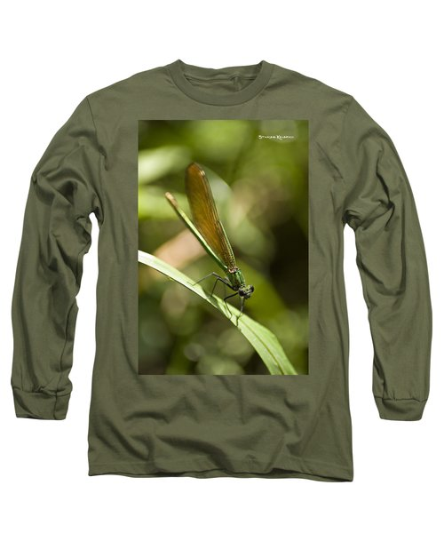 Long Sleeve T-Shirt featuring the photograph A Green Dragonfly by Stwayne Keubrick
