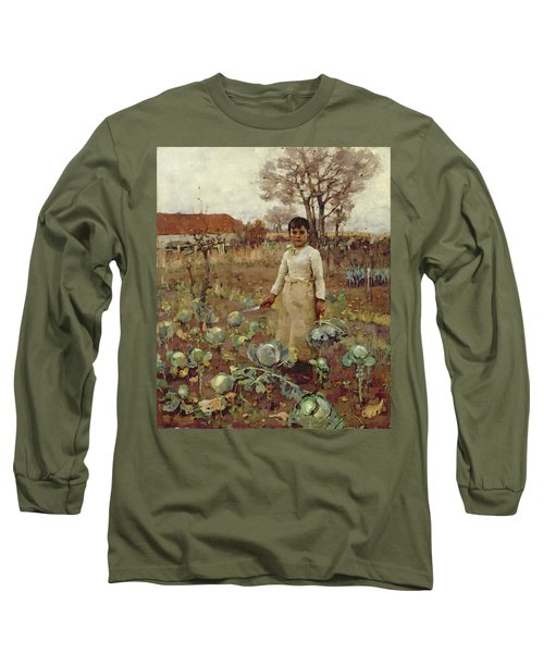 A Hinds Daughter, 1883 Oil On Canvas Long Sleeve T-Shirt by Sir James Guthrie
