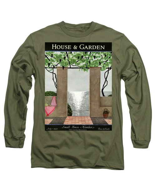 A House And Garden Cover Of A Seaside Patio Long Sleeve T-Shirt