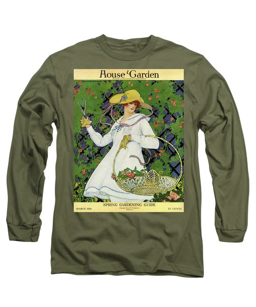 A House And Garden Cover Of A Woman Gardening Long Sleeve T-Shirt