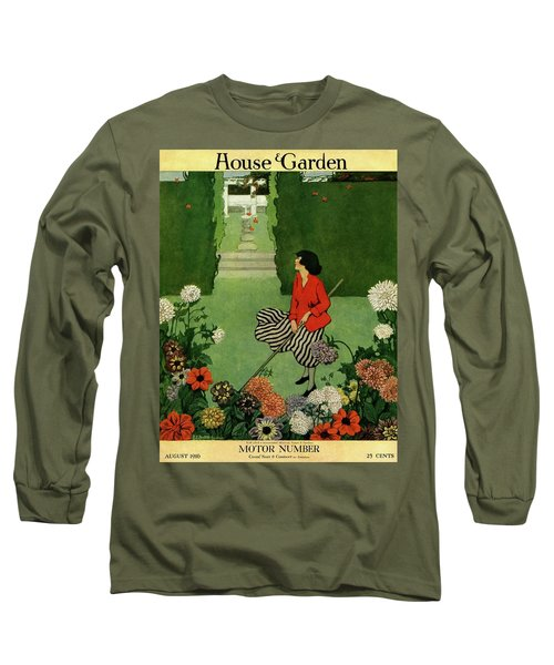 A House And Garden Cover Of A Woman Raking Leaves Long Sleeve T-Shirt