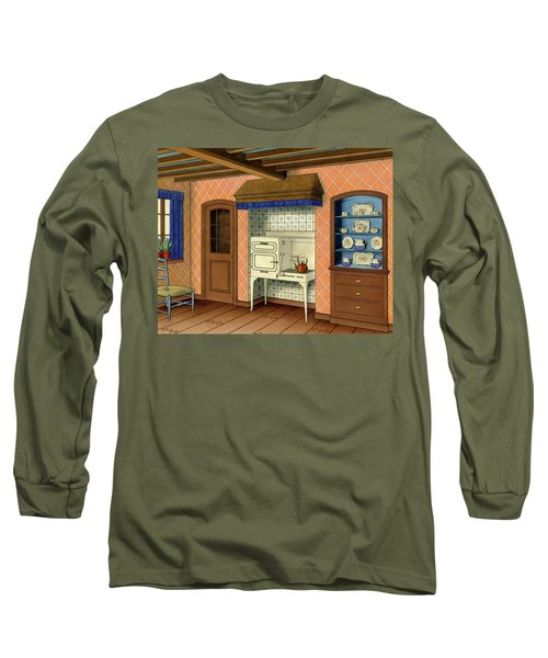 A Kitchen With An Old Fashioned Oven And Stovetop Long Sleeve T-Shirt