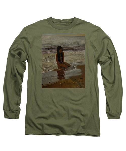 A Line Between Ocean And Sand Long Sleeve T-Shirt by Thu Nguyen