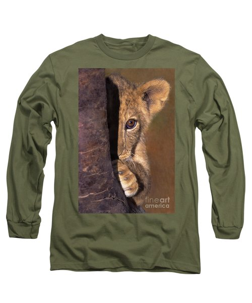 A Lion Cub Plays Hide And Seek Wildlife Rescue Long Sleeve T-Shirt by Dave Welling