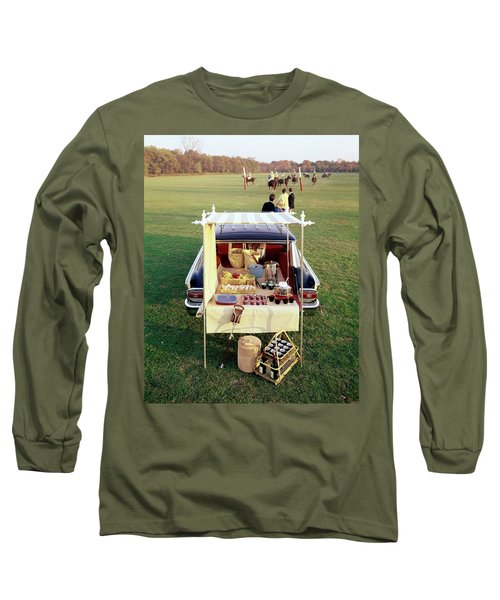 A Picnic Table Set Up On The Back Of A Car Long Sleeve T-Shirt
