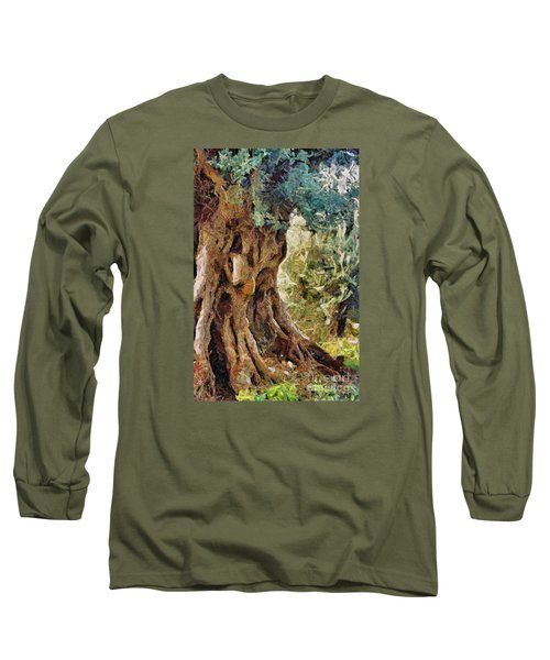 A Really Old Olive Tree Long Sleeve T-Shirt by Dragica  Micki Fortuna