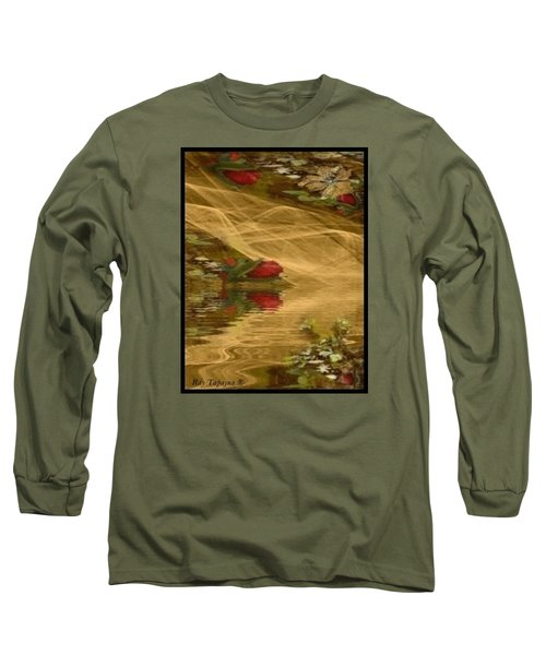 Long Sleeve T-Shirt featuring the mixed media A Rose Bud Stream by Ray Tapajna