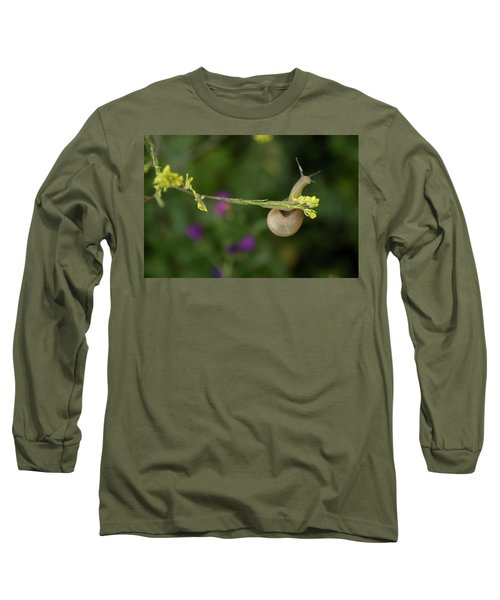 A Snail Clings To A Branch In Prado Del Long Sleeve T-Shirt