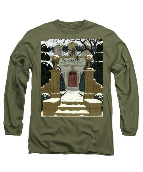A Snow Covered Pathway Leading To A Mansion Long Sleeve T-Shirt