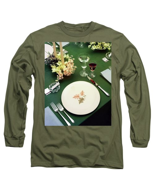 A Table Setting On A Green Tablecloth Long Sleeve T-Shirt