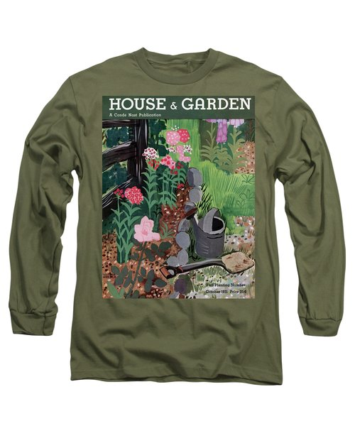 A Watering Can And A Shovel By A Flower Bed Long Sleeve T-Shirt