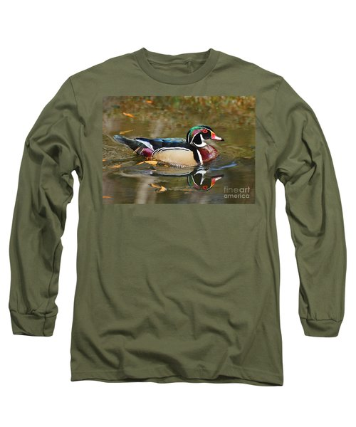 Long Sleeve T-Shirt featuring the photograph A Wood Duck And His Reflection by Kathy Baccari