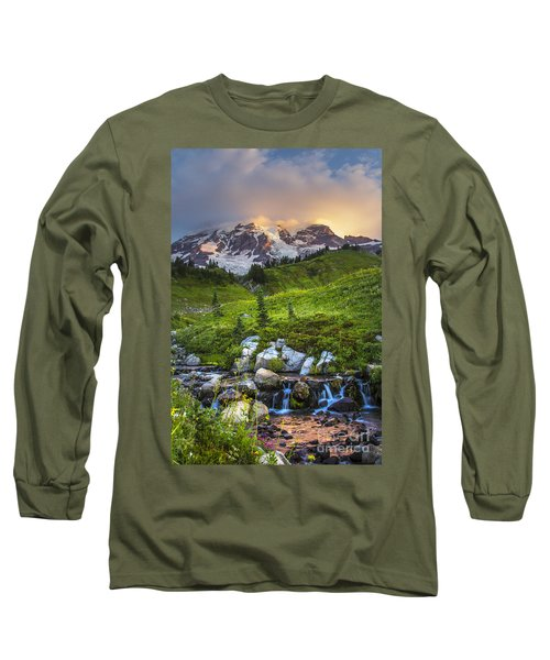 Above Myrtle Falls 3 Long Sleeve T-Shirt by Sonya Lang