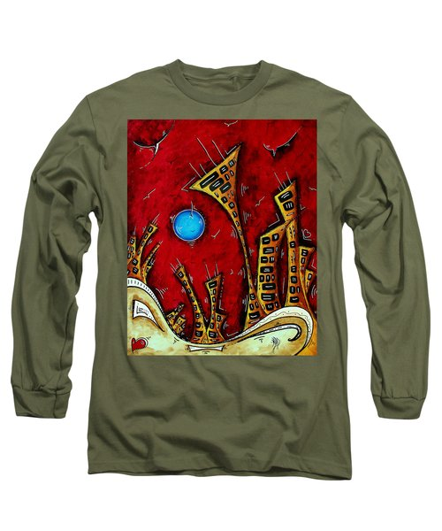 Abstract City Cityscape Art Original Painting Stand Tall By Madart Long Sleeve T-Shirt