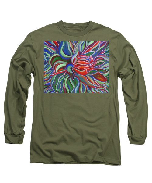 Long Sleeve T-Shirt featuring the painting Abstract Flower by Janice Dunbar