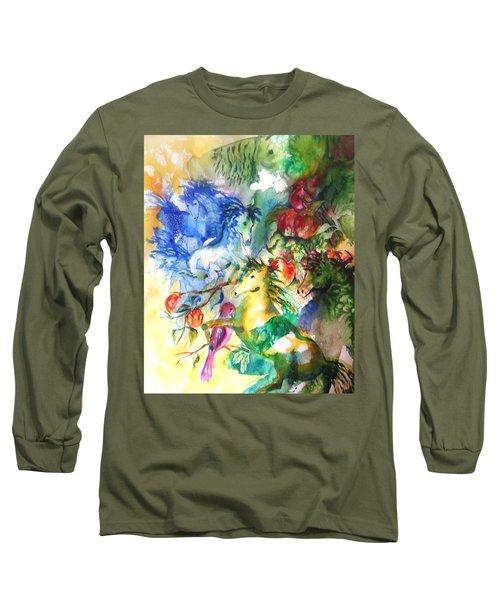 Abstract Horses Long Sleeve T-Shirt