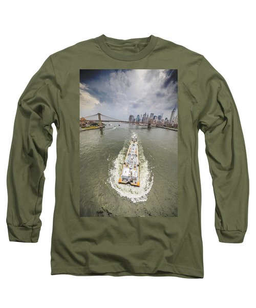 Aerial View - The Barge At The East River Long Sleeve T-Shirt