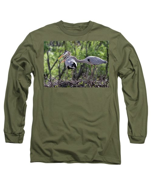 Affectionate Great Blue Heron Mates Long Sleeve T-Shirt