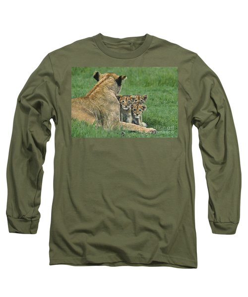 African Lion Cubs Study The Photographer Tanzania Long Sleeve T-Shirt