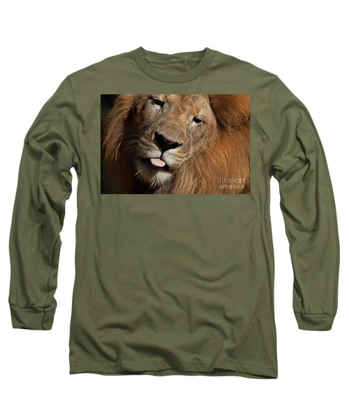 Long Sleeve T-Shirt featuring the photograph African Lion by Meg Rousher