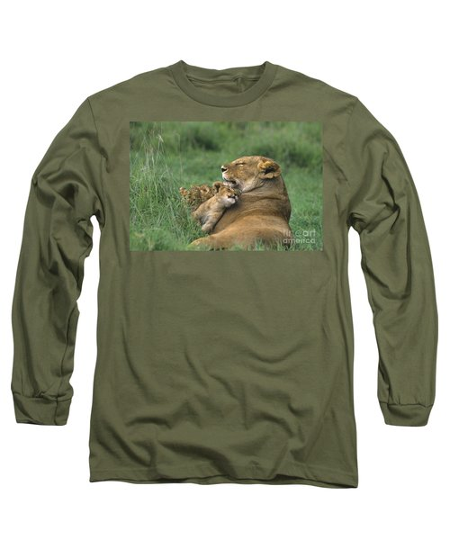 African Lions Mother And Cubs Tanzania Long Sleeve T-Shirt by Dave Welling