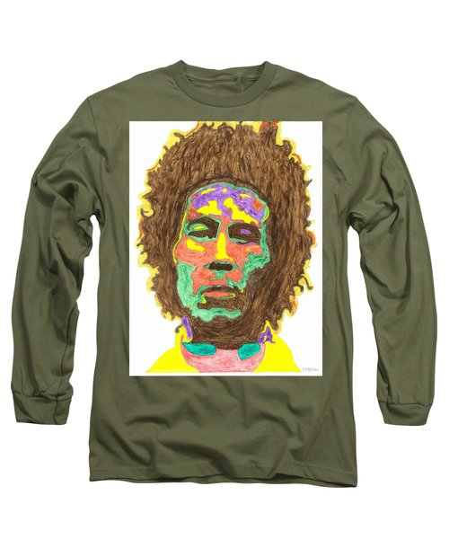 Long Sleeve T-Shirt featuring the painting Afro Bob Marley by Stormm Bradshaw