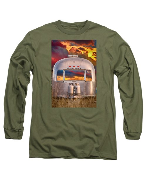 Airstream Travel Trailer Camping Sunset Window View Long Sleeve T-Shirt