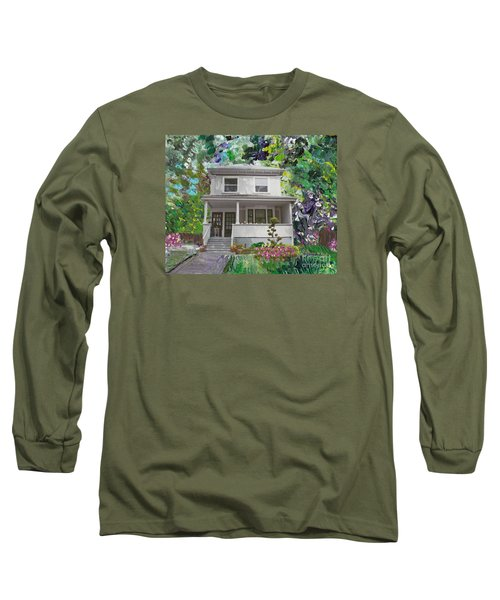 Long Sleeve T-Shirt featuring the painting Alameda 1933 Duplex - American Foursquare  by Linda Weinstock