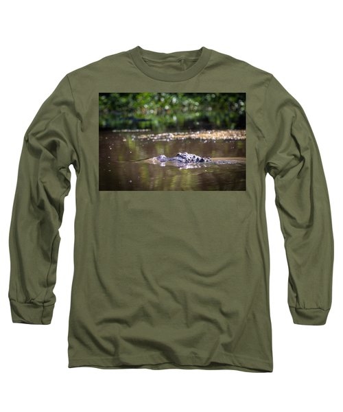 Alligator Swimming In Bayou 1 Long Sleeve T-Shirt