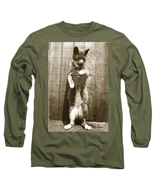 Long Sleeve T-Shirt featuring the photograph Amateur Feline Fotografer Cat With A Box Camera  Historical Photo 1900 by California Views Mr Pat Hathaway Archives