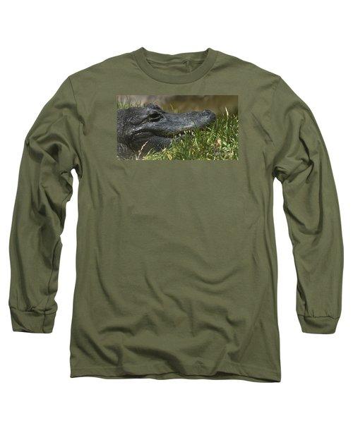 Long Sleeve T-Shirt featuring the photograph American Alligator Closeup by David Millenheft