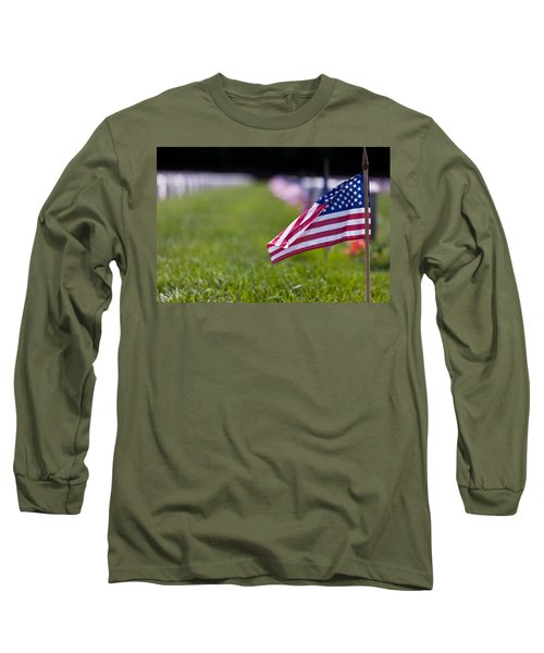 Long Sleeve T-Shirt featuring the photograph American Flag by Jerry Gammon