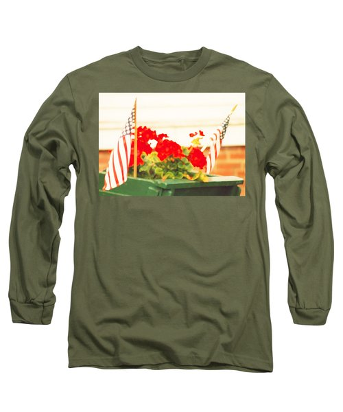 American Flags And Geraniums In A Wheelbarrow In Maine, One Long Sleeve T-Shirt