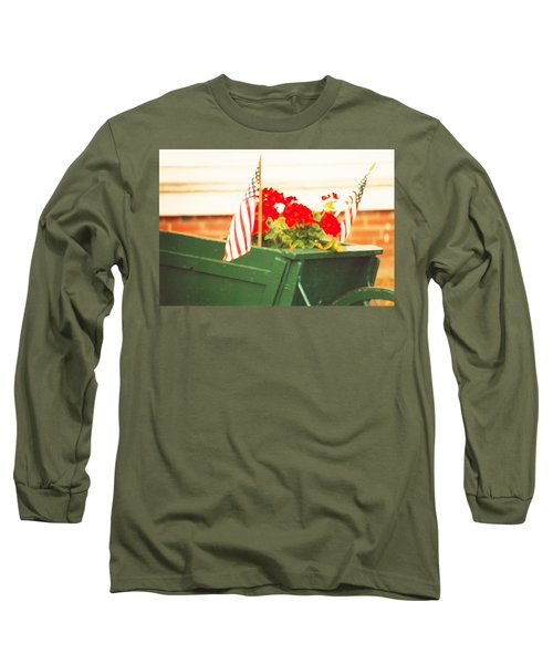 Long Sleeve T-Shirt featuring the photograph American Flags And Geraniums In A Wheelbarrow Two by Marian Cates