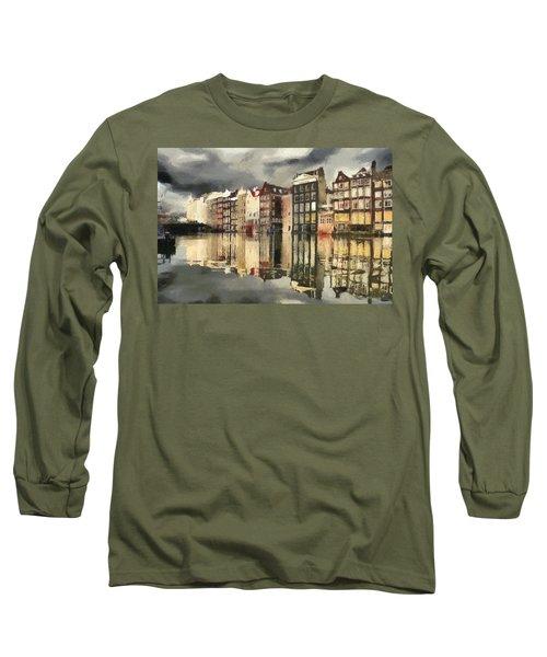 Amsterdam Cloudy Grey Day Long Sleeve T-Shirt by Georgi Dimitrov