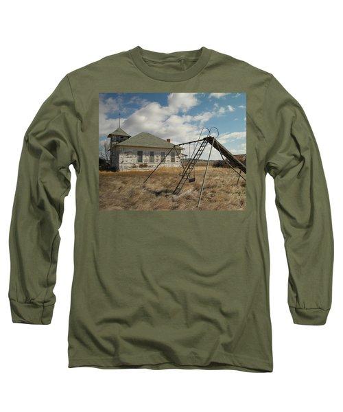 An Old School Near Miles City Montana Long Sleeve T-Shirt