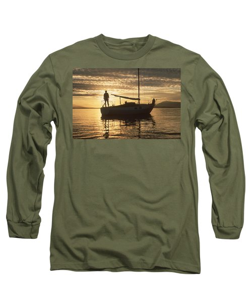 Long Sleeve T-Shirt featuring the photograph Anchored by Mark Alan Perry